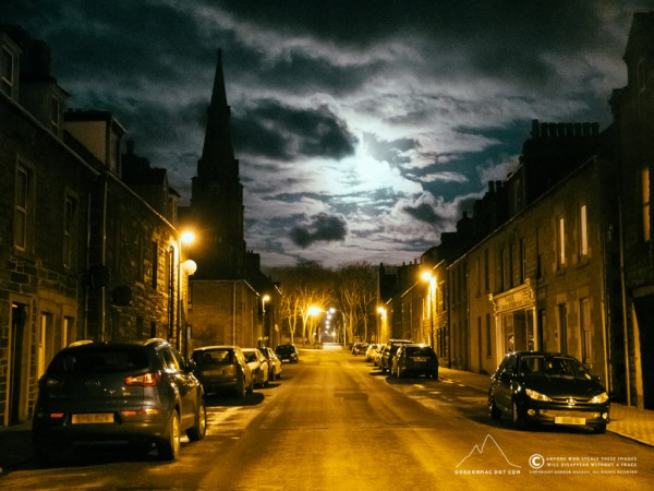 Dempster Street in the moonlight.