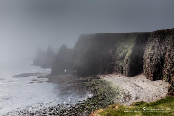 Duncansby stacks shrouded in fog