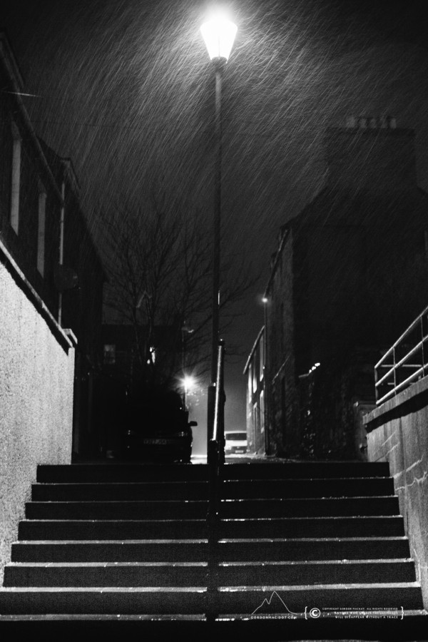 Mowat Lane on a rainy night