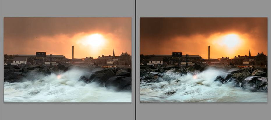 A before and after of an image I processed in Adobe Lightroom